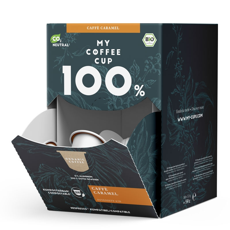 My-Cups Mega-Box Caffè Caramel  100 Kapseln, Bio, 0% Alu