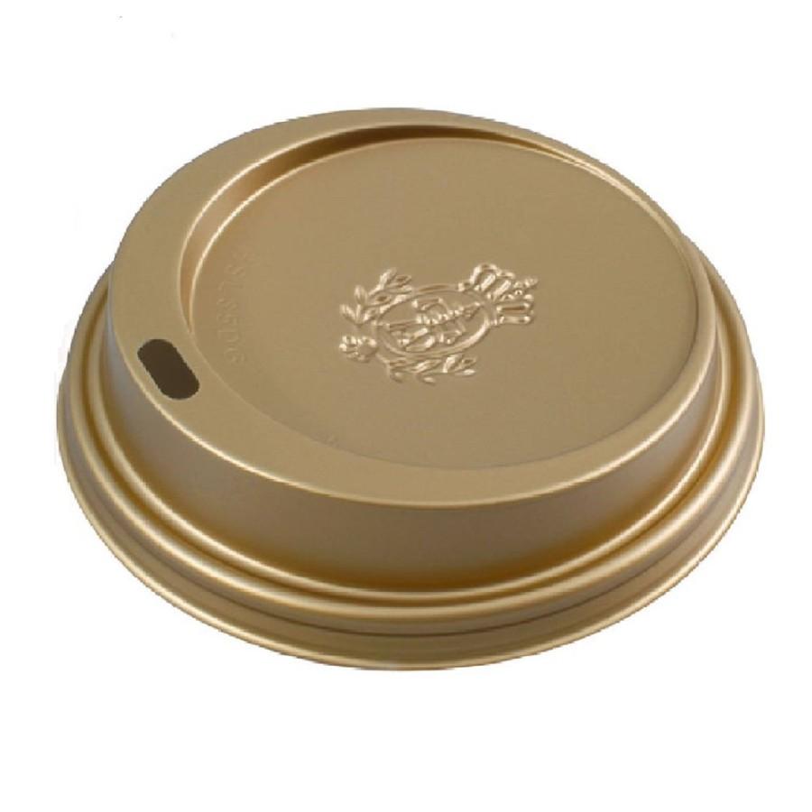 Coffee to go Kunststoffdeckel goldfarben, 200 ml. 100 Stück für 200ml Pappbecher