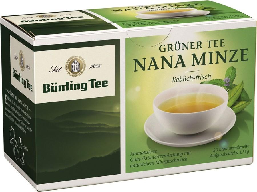 Bünting Tee Grüner Tee Nana Minze 20 x 1,75g Teebeutel