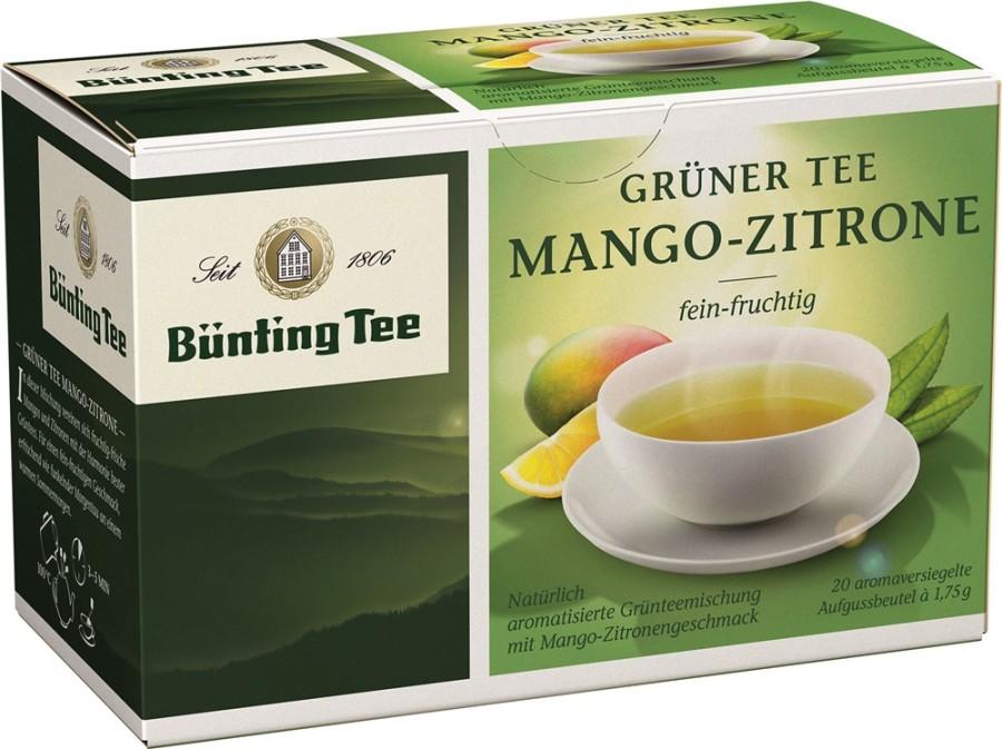 Bünting Tee Grüner Tee Mango-Zitrone 20 x 1,75g Teebeutel