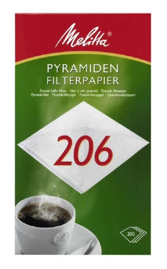 Melitta Pyramiden-Filterpapier PA SF 206 G weiß 200 Stück Filtertüten