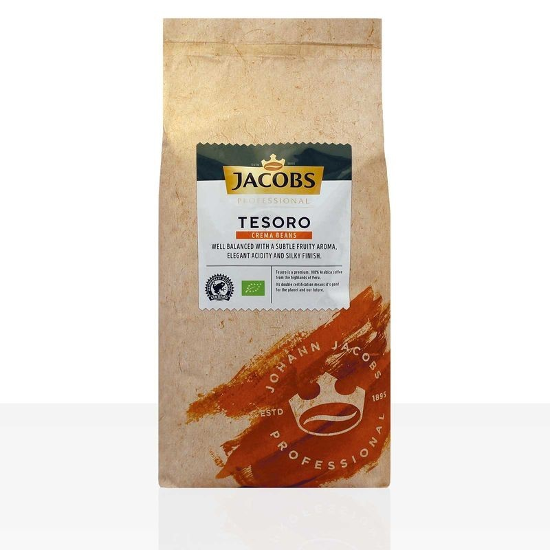 Jacobs Tesoro Café Crema 8 x 1kg Ganze Bohne, Bio, Rainforest Alliance