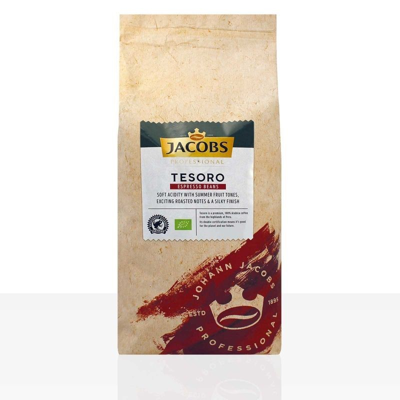 Jacobs Tesoro Espresso Peru  1kg Ganze Bohnen, Bio, Rainforest Alliance