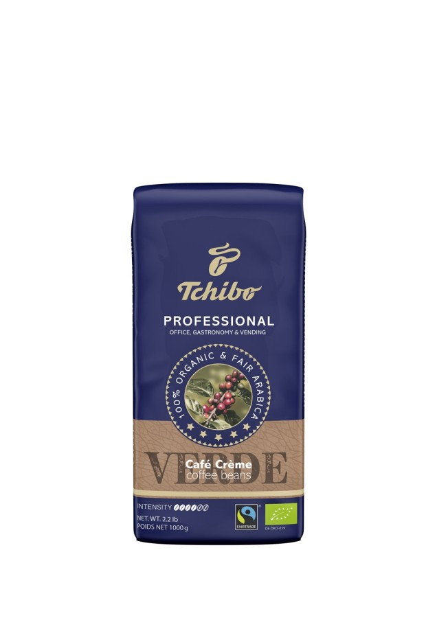 Tchibo Professional Verde Café Crème 1kg Ganze Bohne, Bio Fairtrade