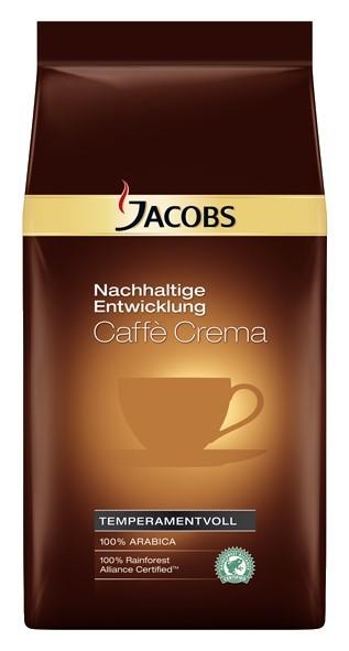 Jacobs Nachhaltige Entwicklung Caffè Crema  1kg Ganze Bohne, Rainforest Alliance