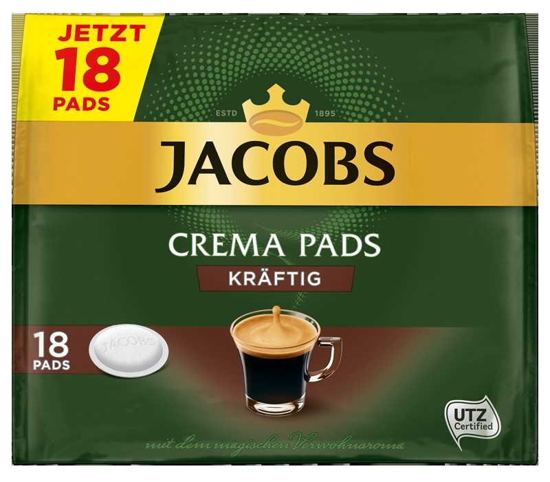 Jacobs Crema Kräftig Röstkaffee 10 x 18 Pads  UTZ zertifiziert