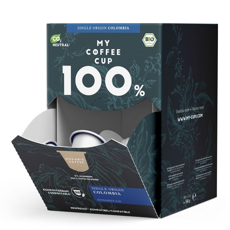 My-Cups Mega-Box Colombian Rainforest Caffè 100 Kapseln, Bio, Rainforest, 0% Alu