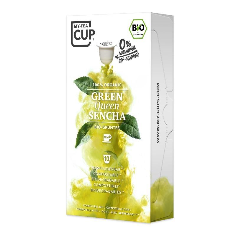 My-Cups Box Green Queen Sencha Grüner Tee 10 Kapseln, Bio, 0% Alu