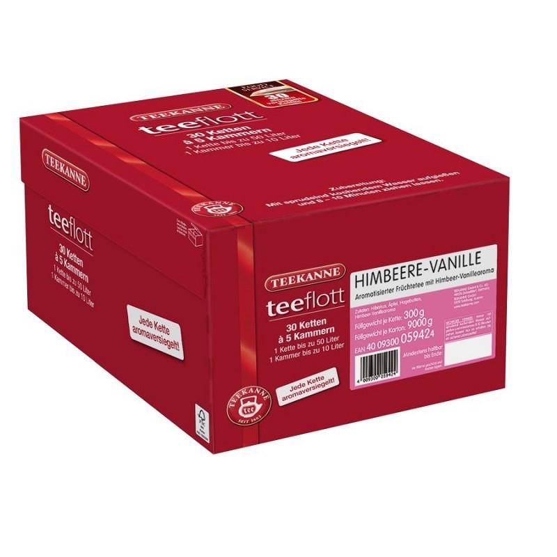Teekanne teeflott Himbeere-Vanille Früchtetee 30 Filterketten à 5 Kammern