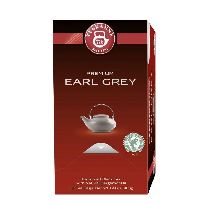 Teekanne Premium Earl Grey Schwarzer Tee 20 x 2g Teebeutel, Rainforest Alliance